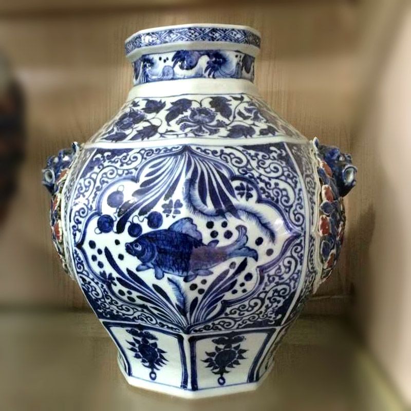 Jingdezhen imitation of the yuan dynasty Ming dynasty heap flower beast ear cover can of Jingdezhen ceramics high copy hollow out a bunch of flower pot