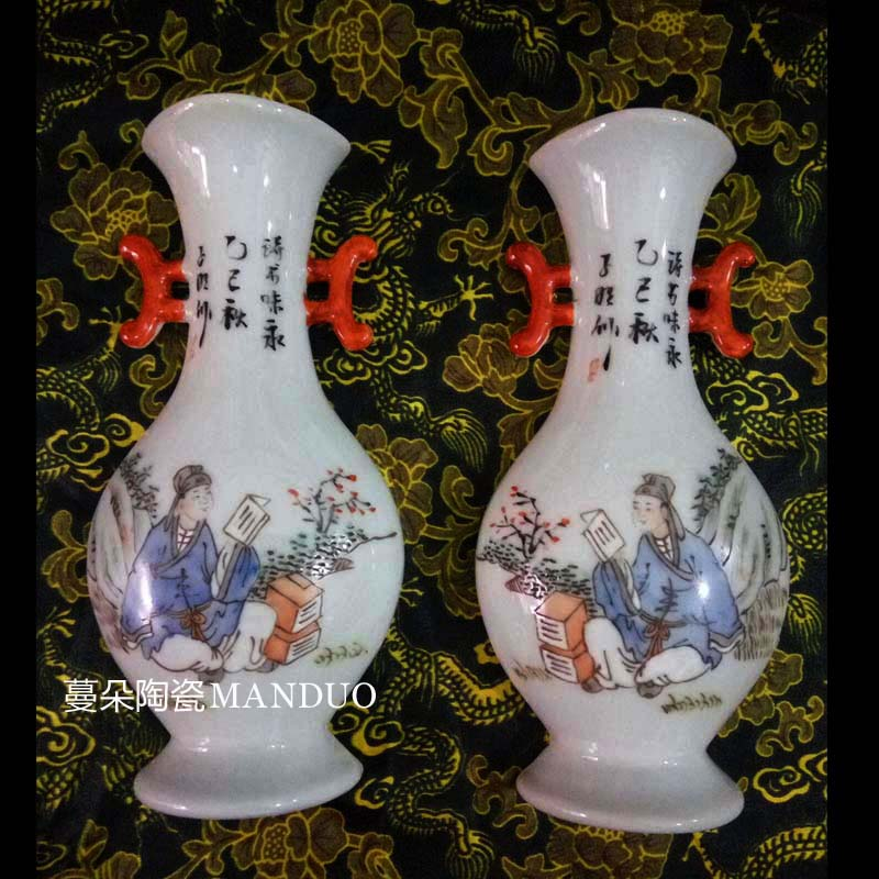 Jingdezhen full - color all hand - made 20-25 cm high hanging hanging flower vase vase color porcelain