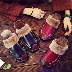 居家皮拖鞋秋冬款情侣家用室内防滑防水家居棉拖鞋