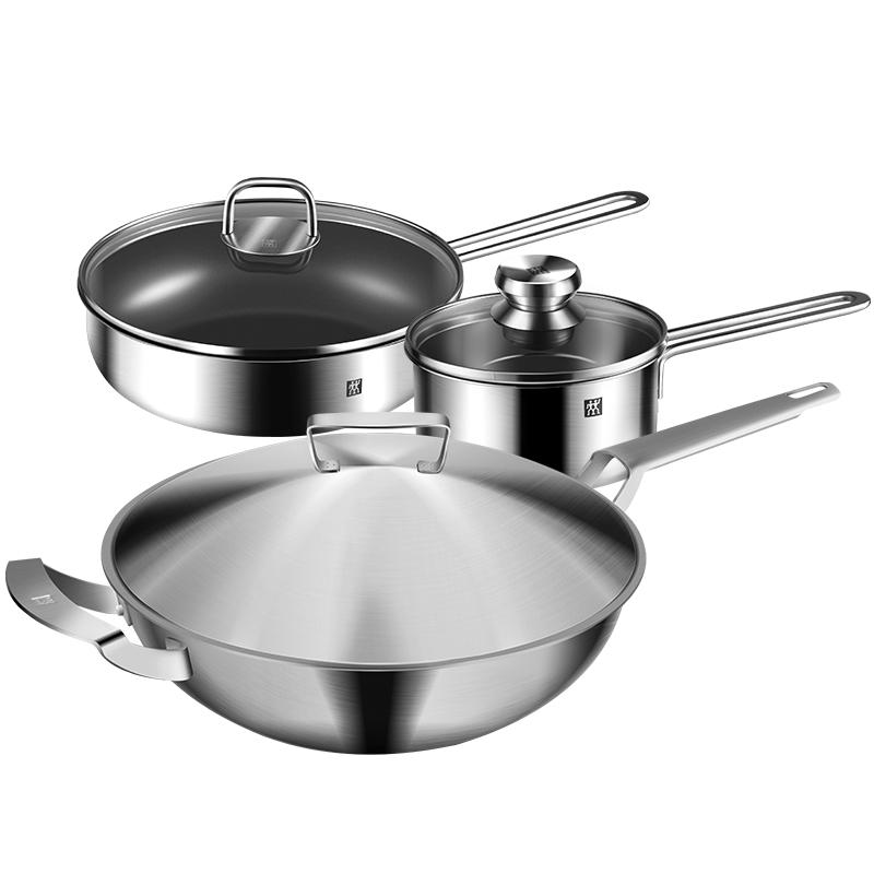 德国双立人不锈钢炒锅不粘煎锅辅食奶锅全钢厨房家用锅组套装系列
