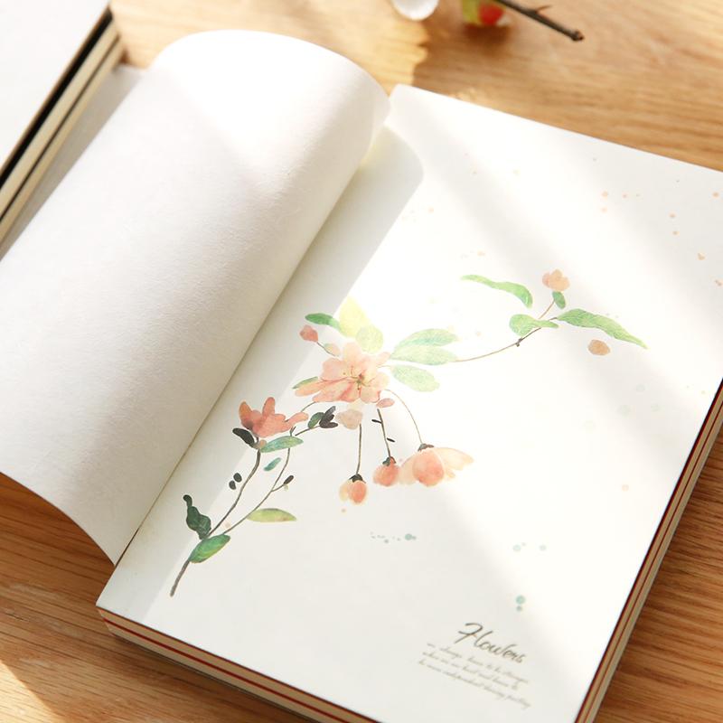 清新水彩植物笔记本 创意裸装日记本 唯美简约学生空白加厚笔记本