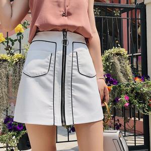 2018新款韩版高腰拼色拉链A字裙半身裙女短裙F6371