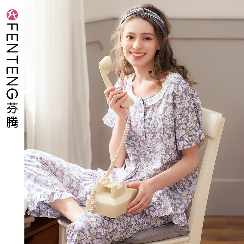 Fengteng summer new pajamas women's woven cotton thin cardigan round neck sweet print Ladies Home service suits