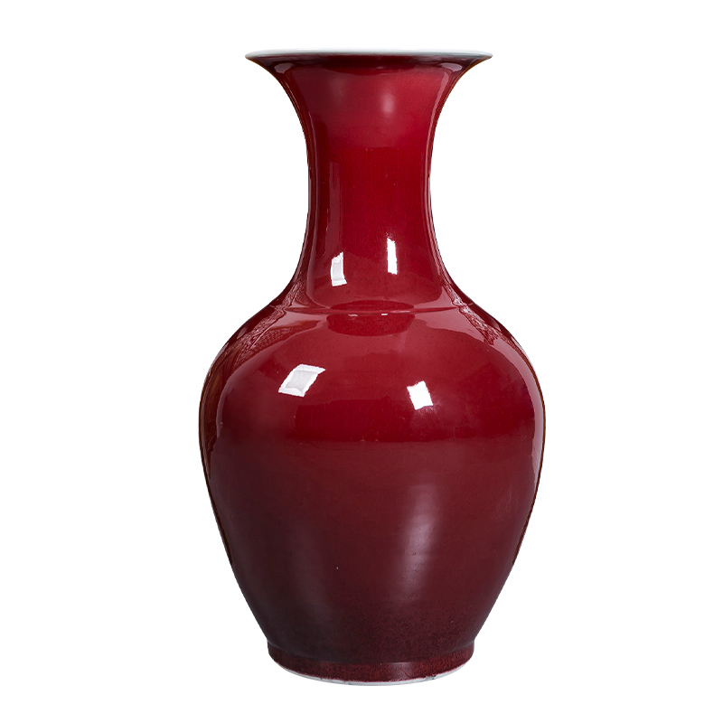 Jingdezhen ceramics big vase ruby red open piece of variable red glaze landing large Chinese home furnishing articles