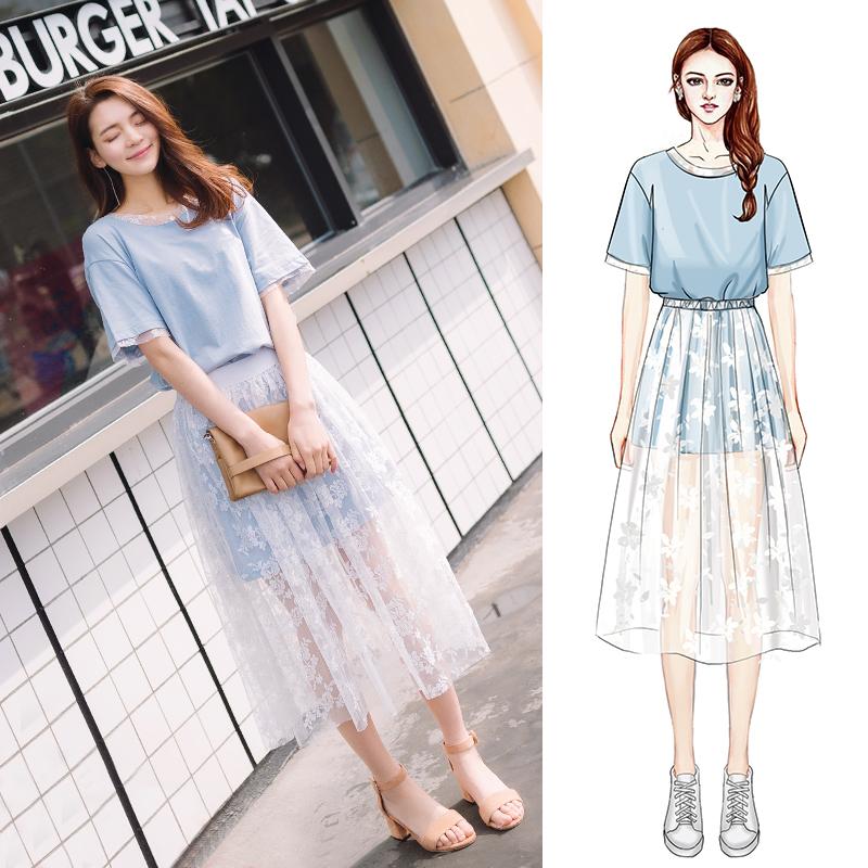 欧薇娅2018春夏季新款两件套韩版初恋蕾丝网纱仙女套装连衣裙女