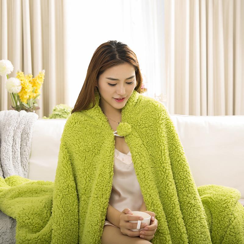 冬季双层加厚羊羔绒毛毯懒人毯披肩毯办公室午睡毯盖毯沙发毯子