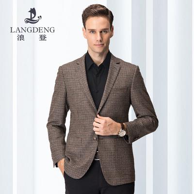浪登2018新款秋季西装男商务男士休闲西服两粒扣格子羊毛单西外套