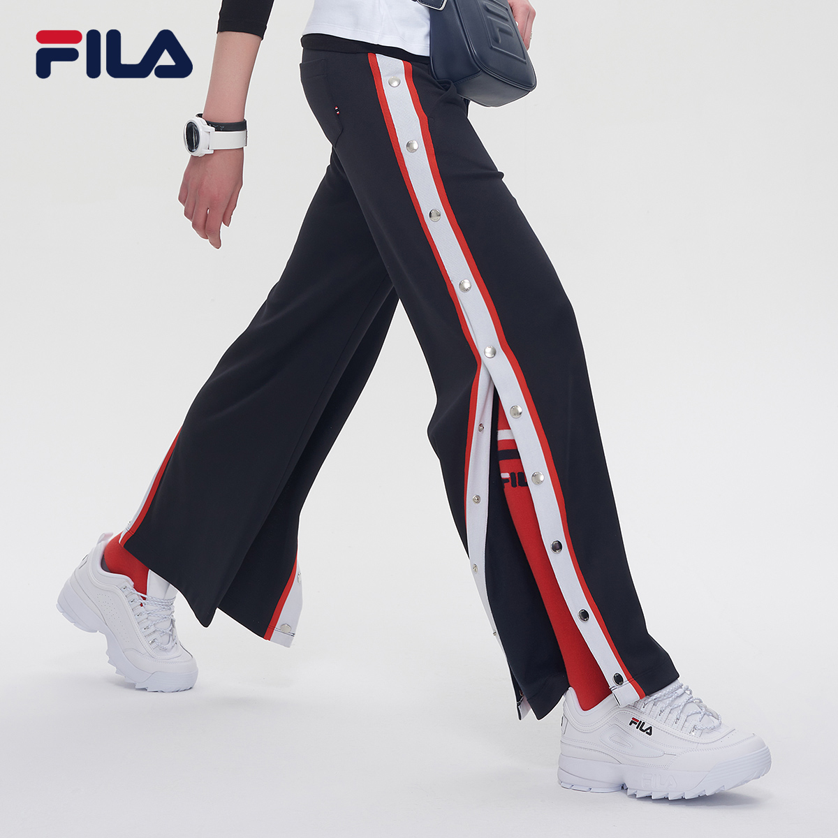 FILA斐乐女裤2018秋季新品运动休闲街头潮范侧边开衩宽松长裤女