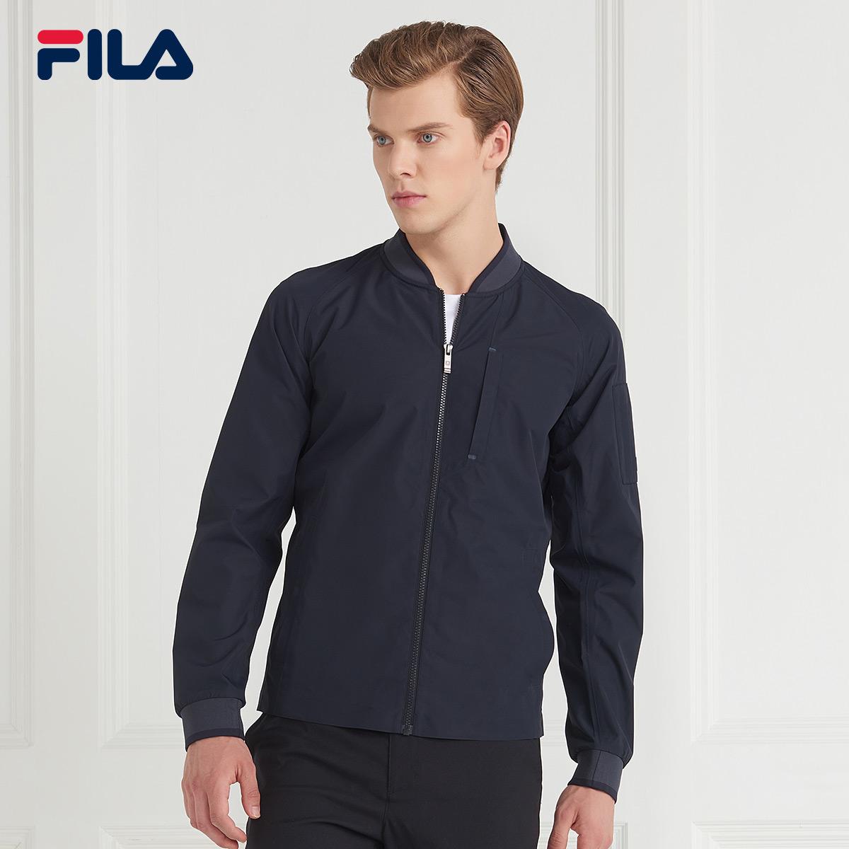 FILA斐乐外套男2018秋季新品高端商务休闲简约梭织运动外套男上衣