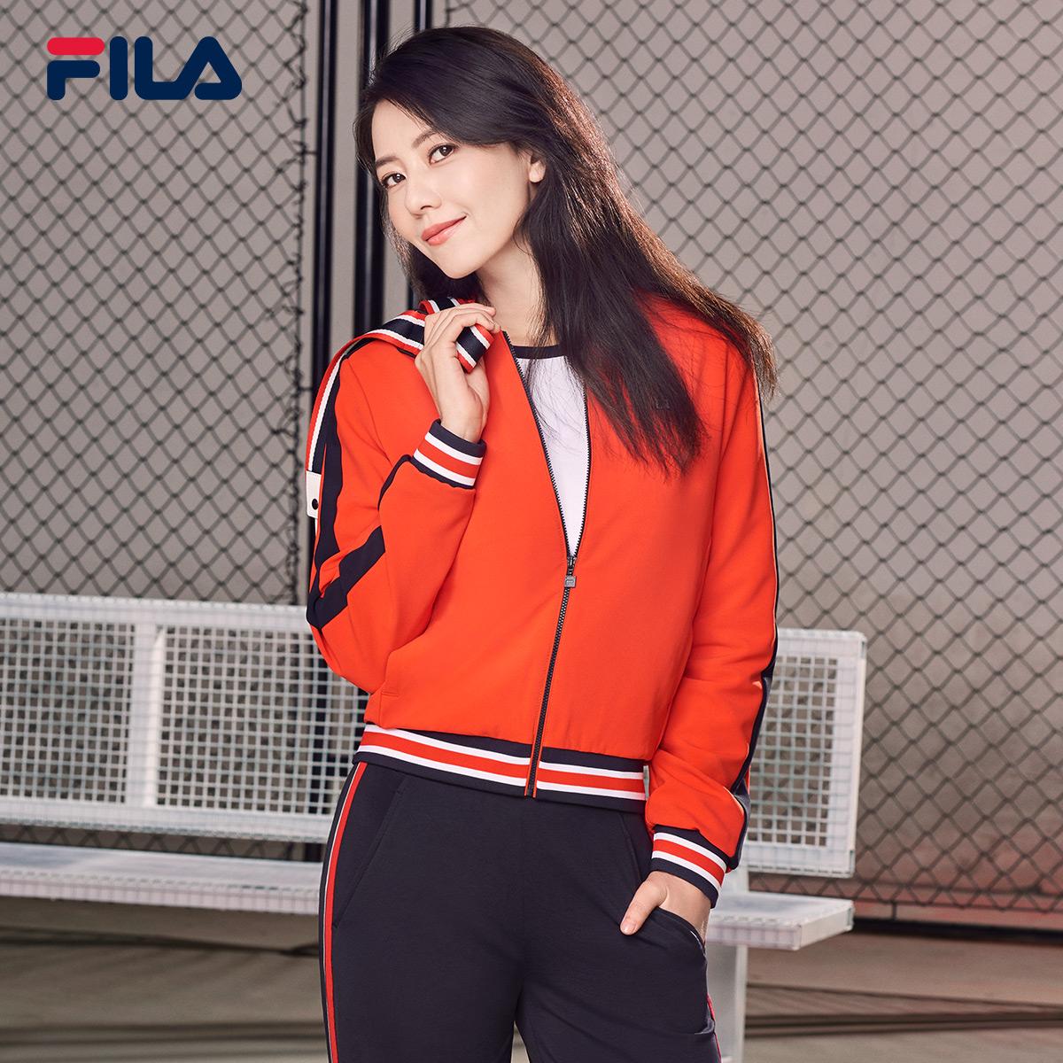 FILA斐乐高圆圆同款女外套2018年秋季新款棒球领梭织运动休闲外套