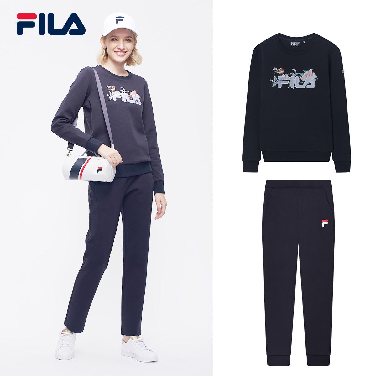 FILA斐乐女运动套装2018秋季新品舒适简约时尚套头衫休闲运动长裤