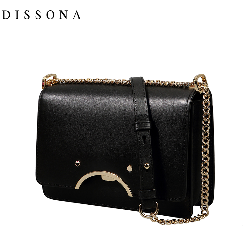 迪桑娜时尚新款女包真皮斜挎包牛皮链条小包包百搭斜跨单肩小方包