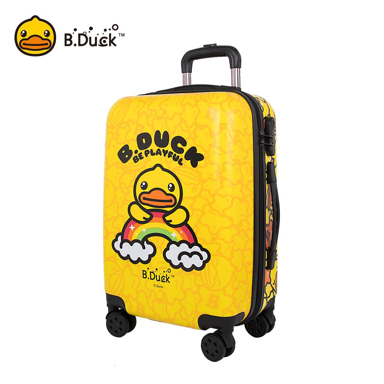 B.Duck小黄鸭拉杆箱飞机轮旅行箱20寸24寸行李箱登机箱卡通可爱