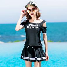 韩国平角运动短袖分体学生泳装