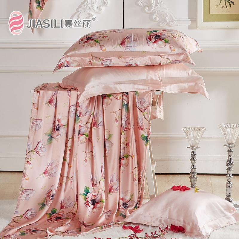嘉丝丽宽幅印花100桑蚕丝丝绸真丝被套原创双面真丝床上套件新