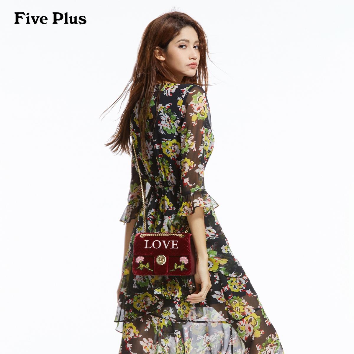 Five Plus2018新款女装VAVA明星同款荷叶边连衣裙印花女中长高腰