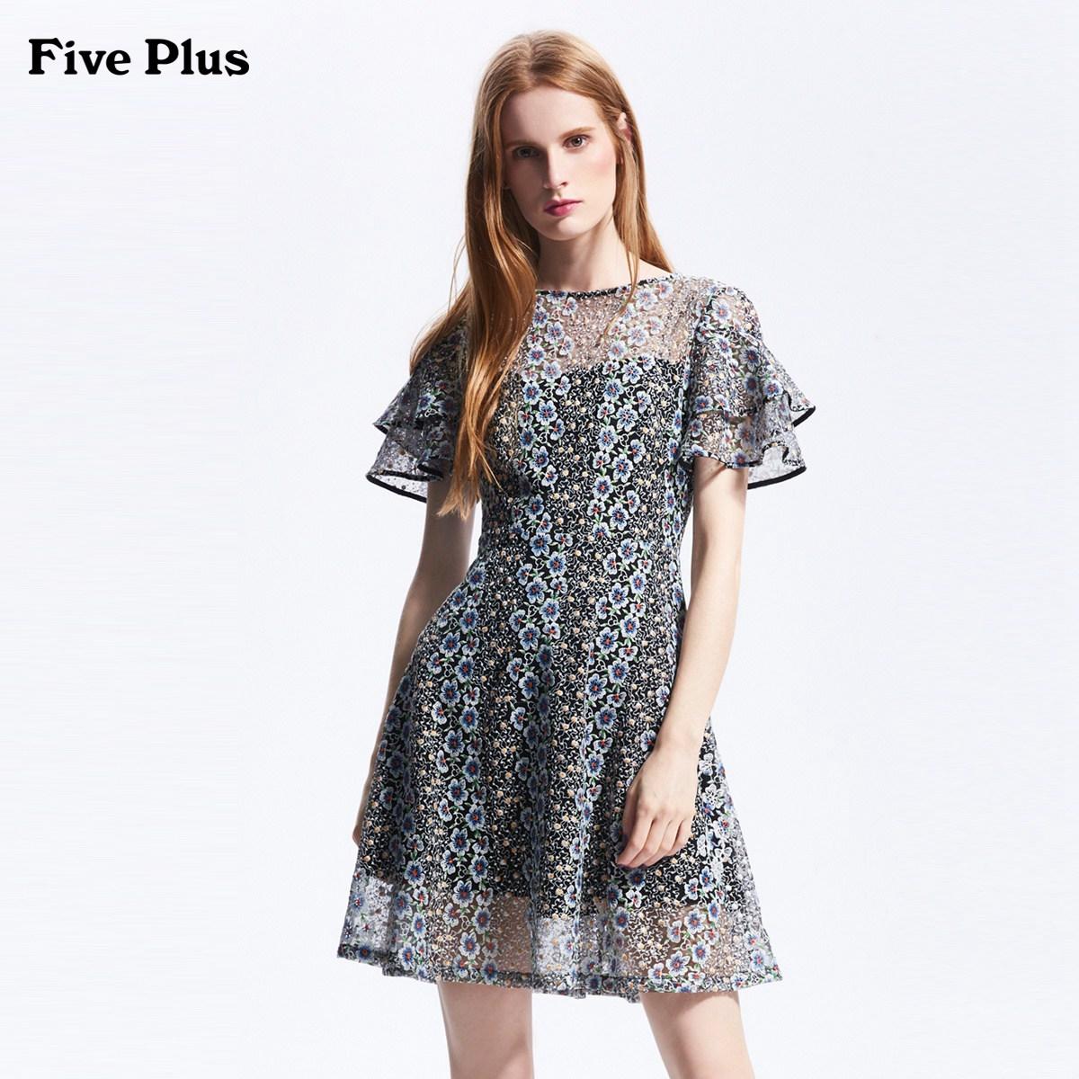 Five Plus2018新品女夏装碎花连衣裙短袖高腰荷叶边圆领刺绣短裙