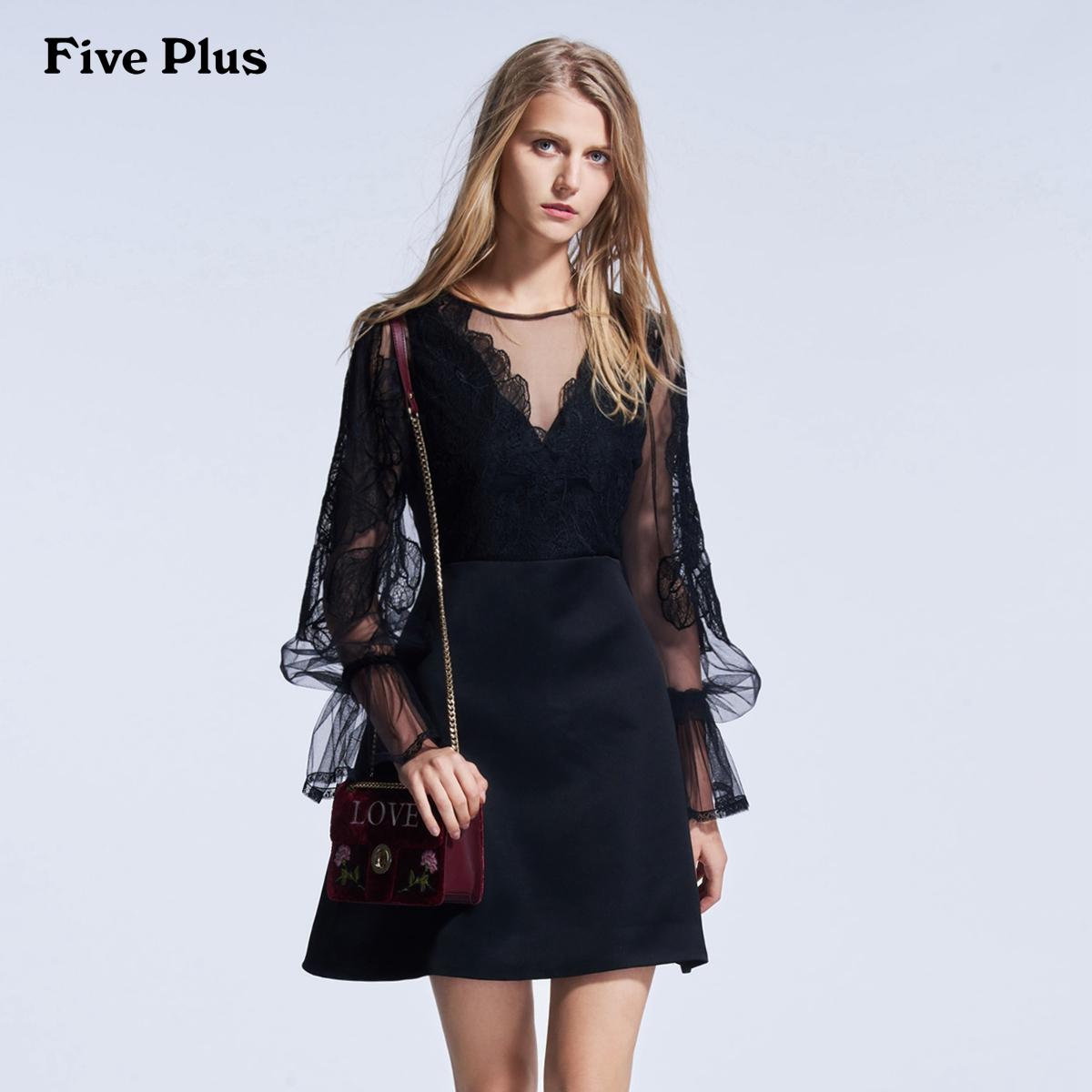 Five Plus2018新款女装拼蕾丝连衣裙女高腰长袖V领小黑裙商场同款