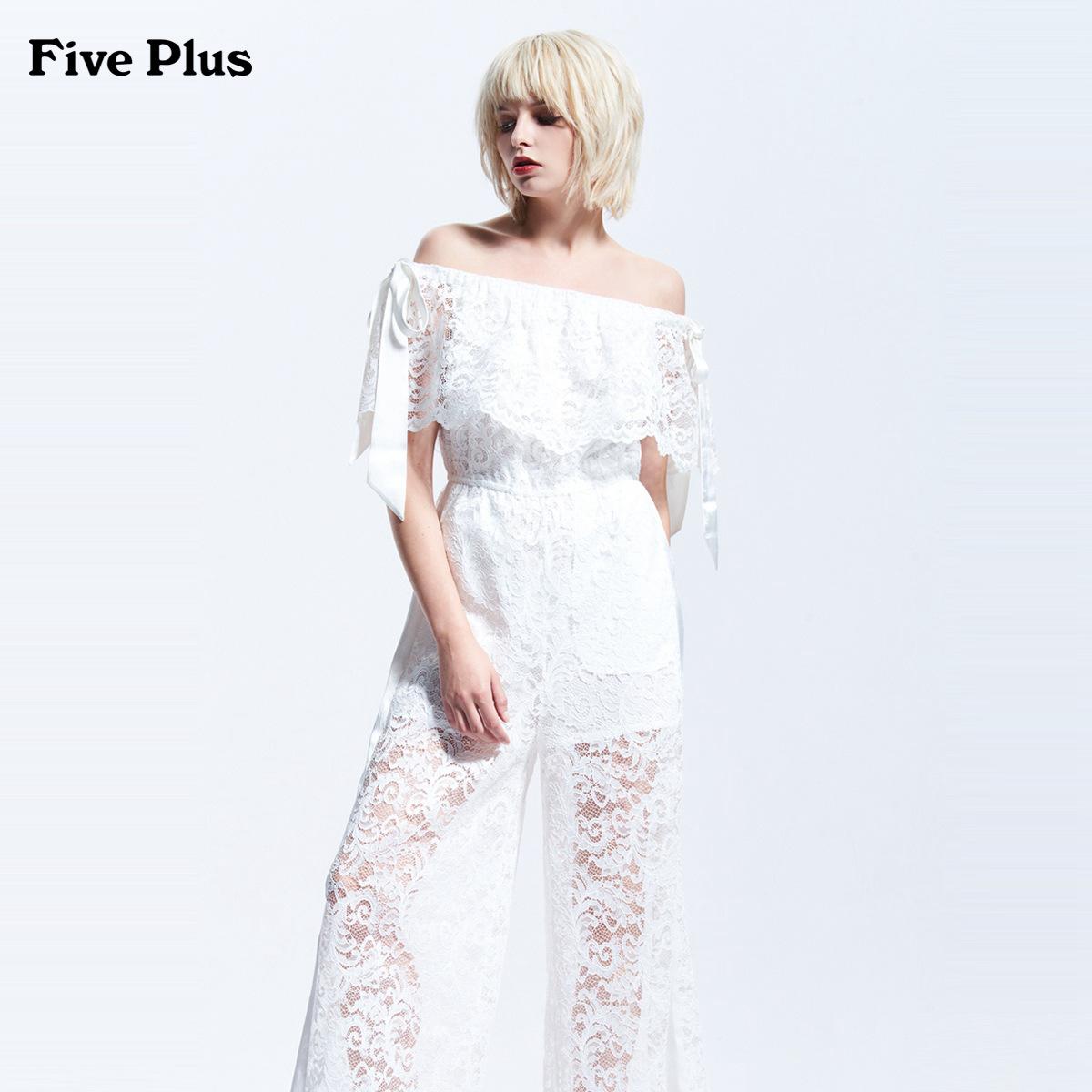 Five Plus2018新品女夏装蕾丝阔腿裤女高腰连体裤一字领露肩飘带