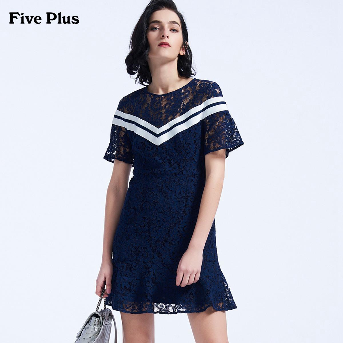 Five Plus2018新品女夏装蕾丝连衣裙短袖高腰条纹拼接荷叶边短裙