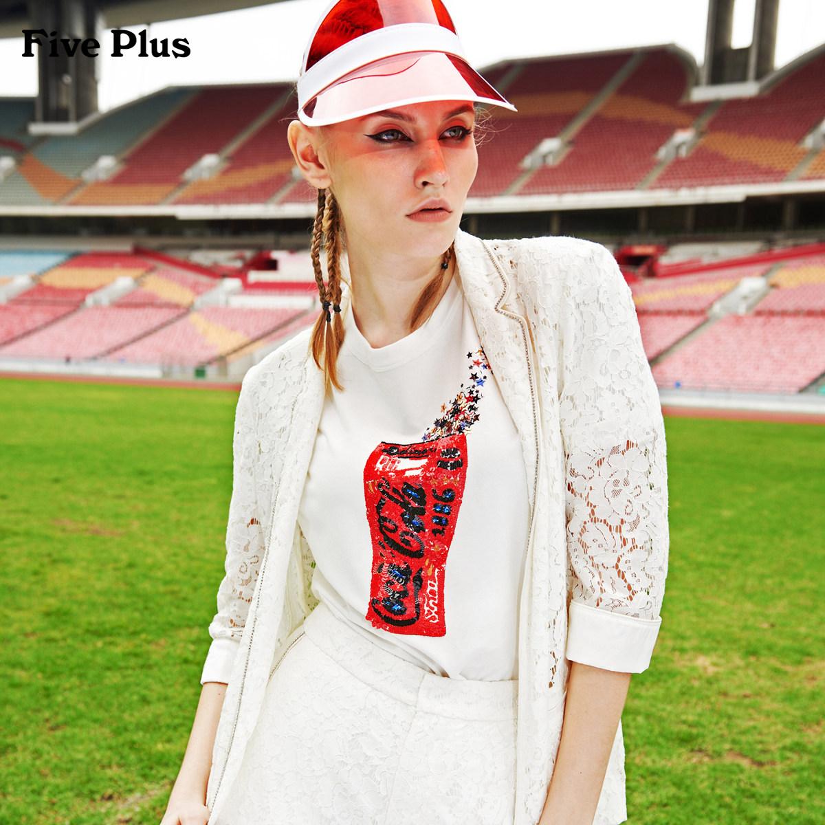 Five Plus2018新品女夏装蕾丝西装薄款外套女宽松中长款刺绣开叉