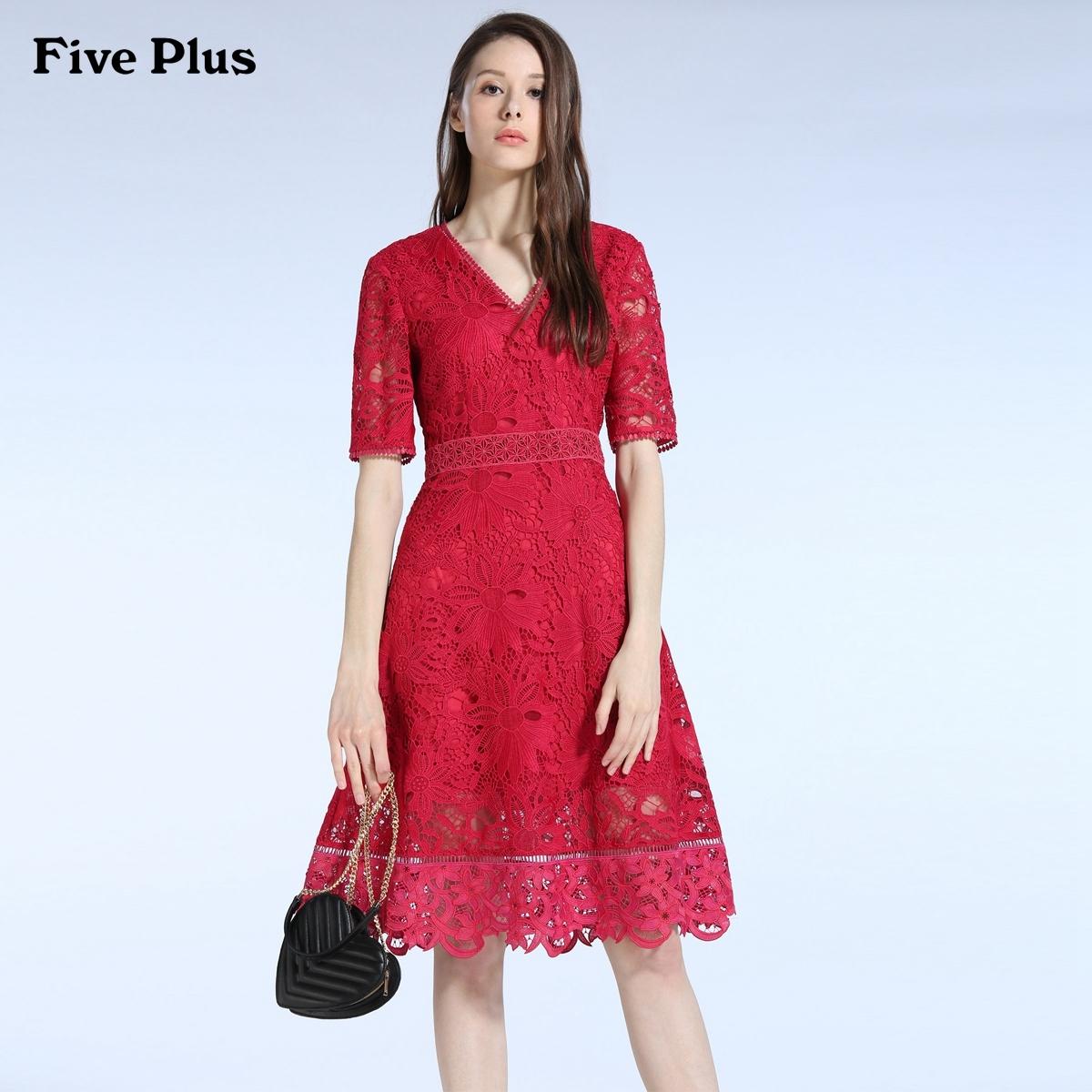 Five Plus新女夏装气质镂空刺绣花边高腰V领短袖连衣裙2JM2082230