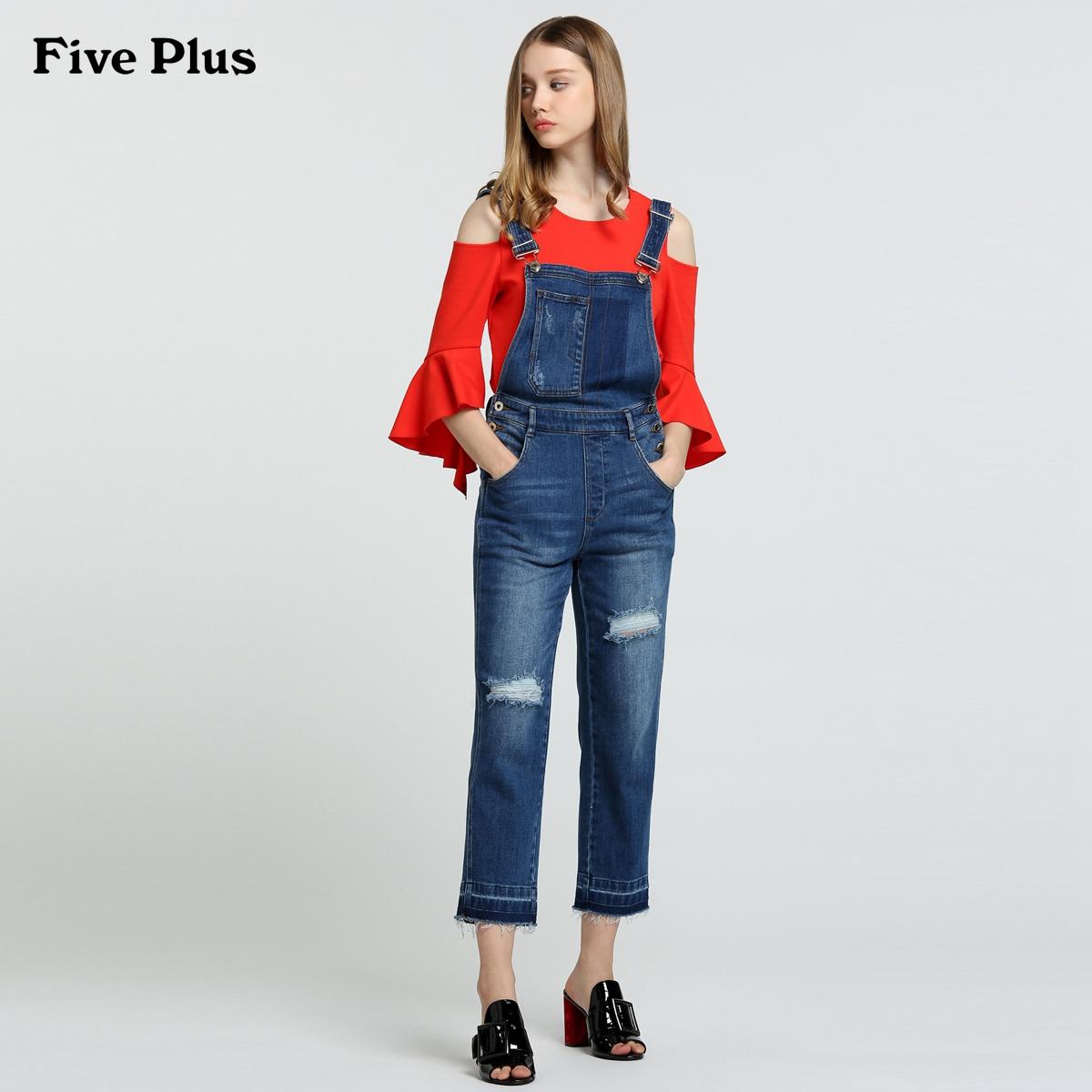 Five Plus新女夏装棉质牛仔破洞高腰背带裤连体长裤2JF2065040