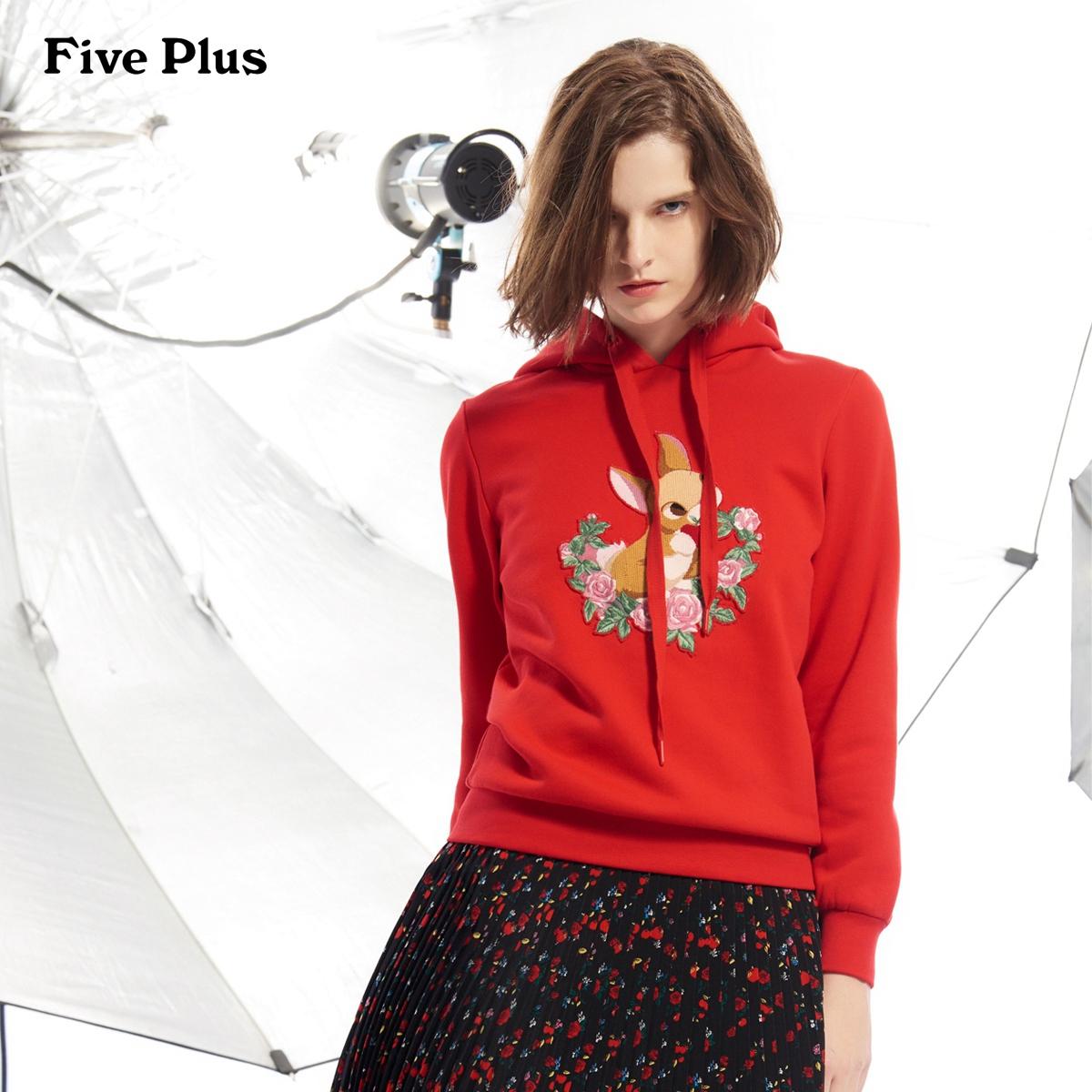 Five Plus女冬装卫衣式T恤女宽松刺绣连帽套头衫长袖图案棉质