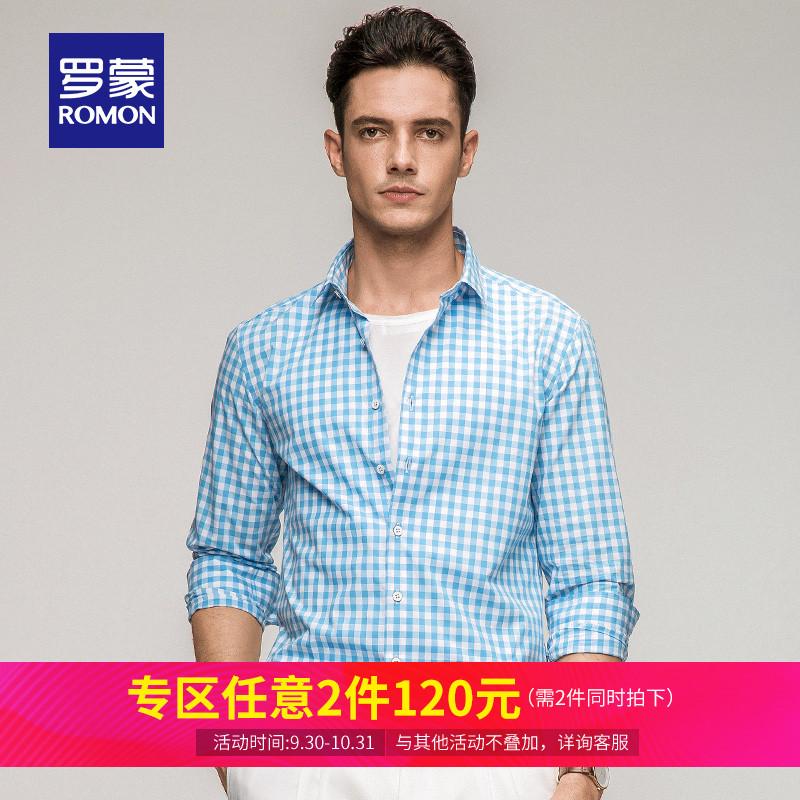 Romon-罗蒙长袖衬衫格子100%纯棉休闲衬衣修身薄款上衣男