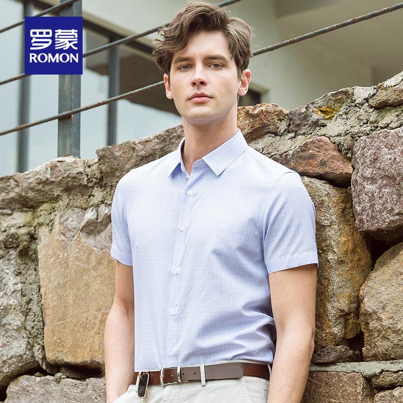 Romon-罗蒙商务休闲短袖衬衫中青年男士夏季薄款工装翻领衬衣男