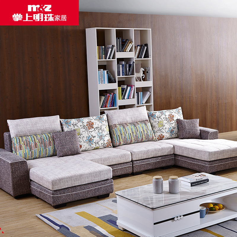 掌上明珠家居 新款全棉麻布艺沙发大小妃位户型现代客厅沙发组合