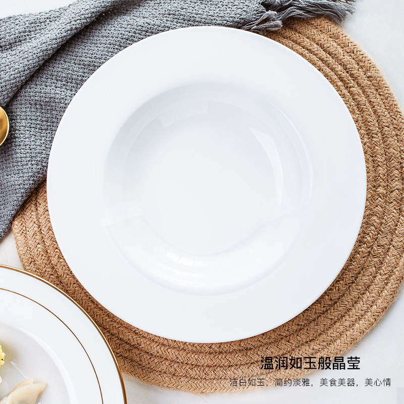 Jingdezhen ceramic creative contracted white straw hat disc western - style food plate ipads porcelain tableware pasta spaghetti dish dish