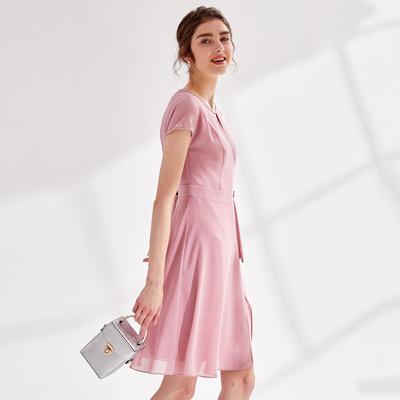 Koradior/珂莱蒂尔女装2019新款夏装小香风修身气质短袖连衣裙女