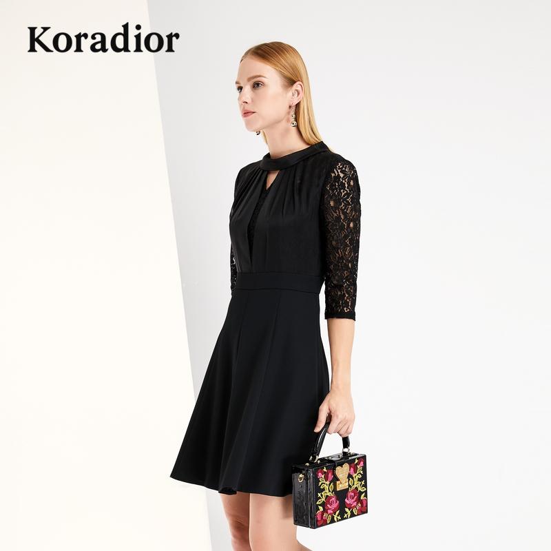 Koradior-珂莱蒂尔品牌女装2018秋装新款黑色蕾丝修身显瘦连衣裙