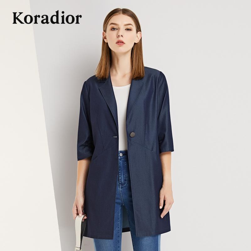Koradior-珂莱蒂尔品牌女装2018秋装新款中长款风衣外套时尚修身