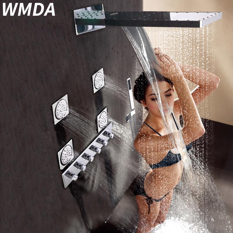 维名达入墙式浴室瀑布全铜混水阀暗装恒温淋浴花洒套装淋雨水龙头