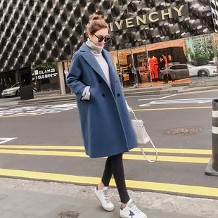 2017韩国原宿风茧型毛呢外套 中长款宽松学生呢子大衣