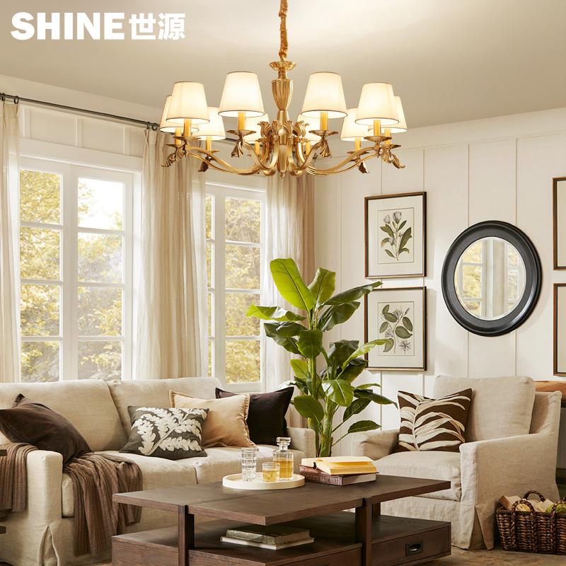 世源欧式布艺铜吊灯客厅卧室餐厅灯具典雅华贵吸吊两用71391