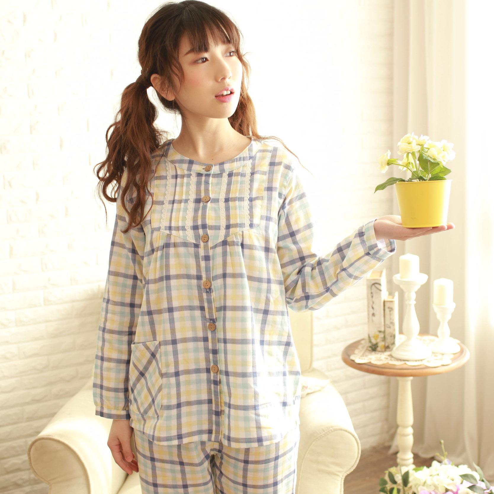 睡衣女春秋纯棉纱布长袖套装薄款全棉格子家居服夏季韩版甜美可爱