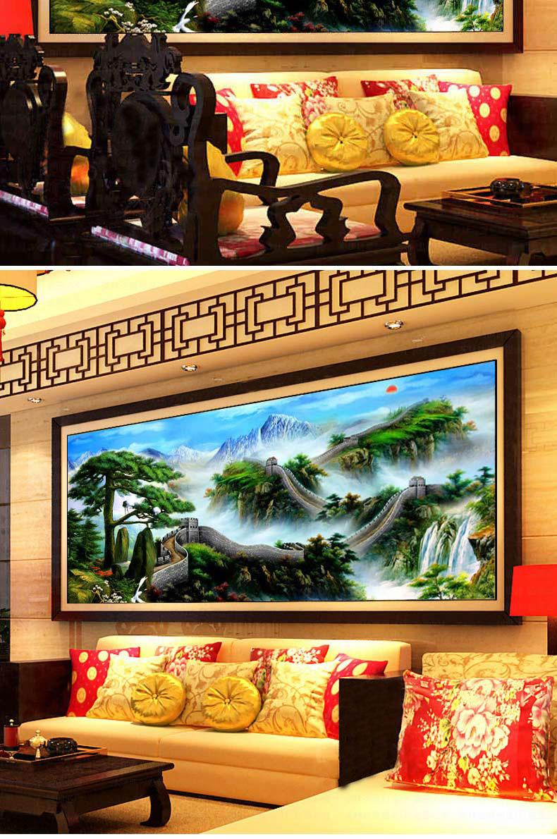 城十字绣迎客松聚宝盆系列最新款风景十字绣山水画客厅ks63图片