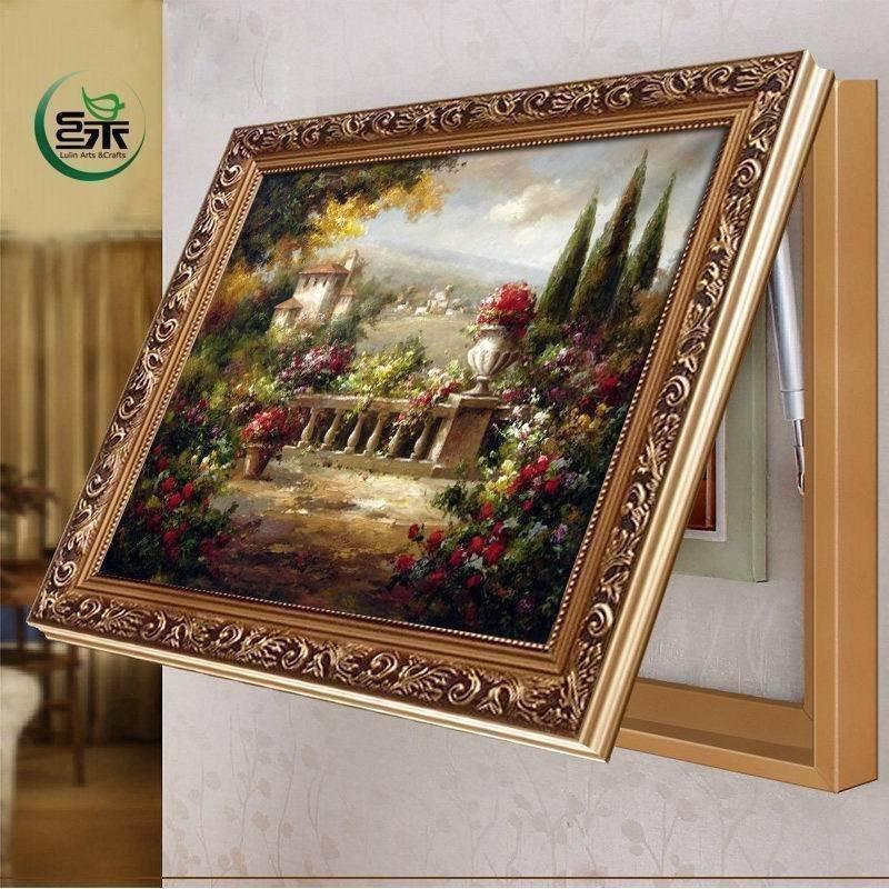 绿牌欧式遮挡电表箱装饰画油画客厅现代有框画液压上翻式挂画壁画