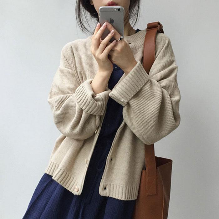 秋冬女装韩版日系小清新纯色加厚针织衫毛衣学生宽松长袖开衫外套