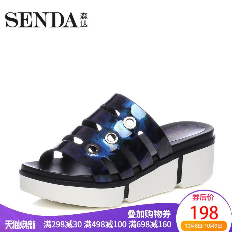 Senda-森达夏秋专柜同款时尚坡跟女凉拖鞋室外休闲外穿3CA15BT7