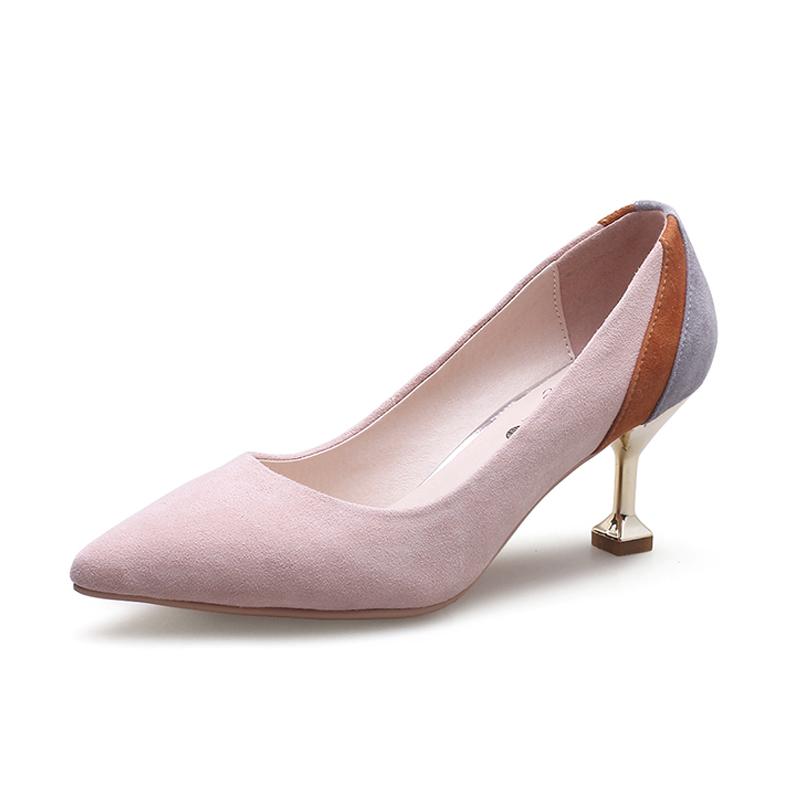 春季新款高跟鞋细跟尖头女单鞋真皮小码31 32 33大码40 41 42 43