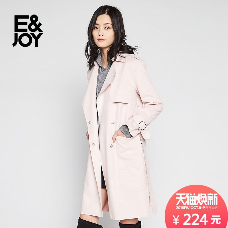 艾格E&joy秋季新款时尚纯色翻领系带中长款风衣外套女8E0834023