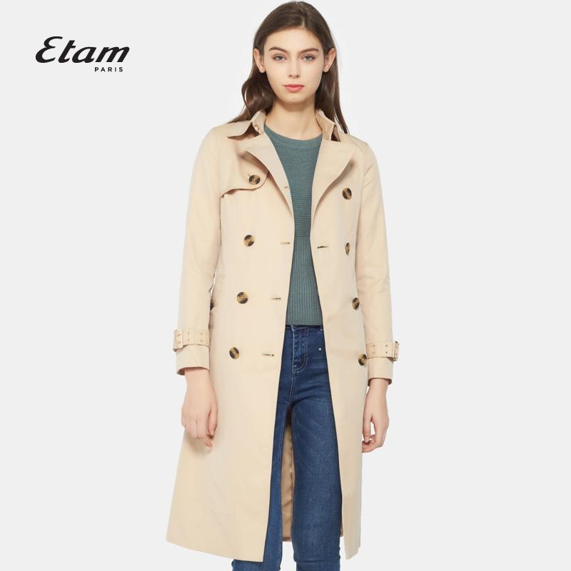 艾格Etam2018新款简约纯色双排扣中长款风衣外套女17013411172