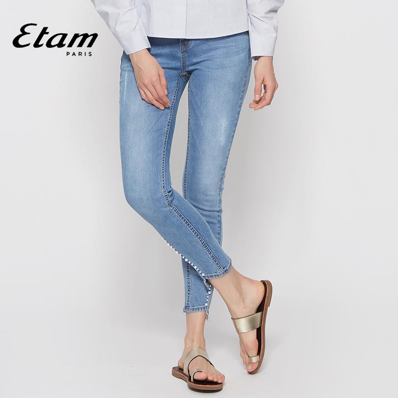 艾格Etam秋季新款时尚简约磨白紧身小脚牛仔长裤女8E012301444