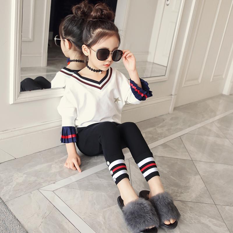 2018新款春装女童套装中大儿童时尚洋气韩版V领两件套女孩衣服潮