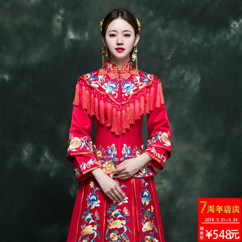Wo clothing bride 2018 new Chinese-style wedding dress wedding toast ...