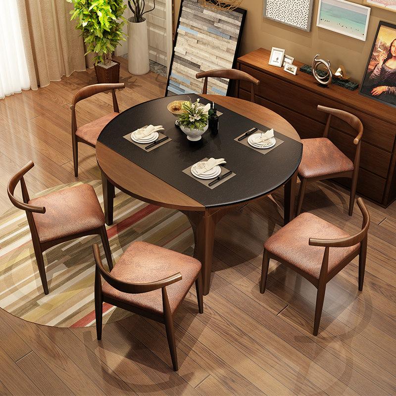 火烧石餐桌白蜡木伸缩电磁炉餐桌现代北欧饭桌实木圆餐桌椅组合